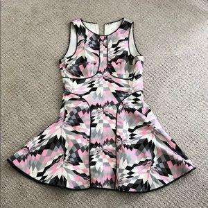 Geometric print fit and flare mini dress